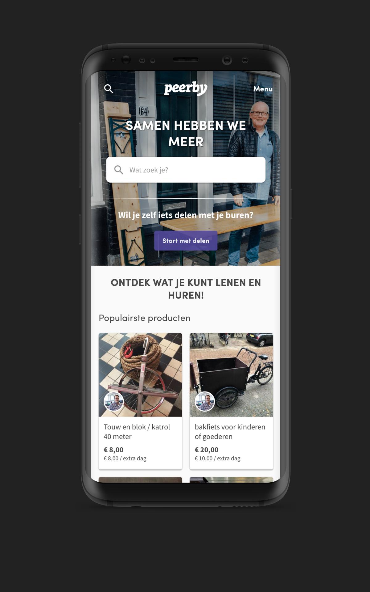 Peerby Homepage Mockup